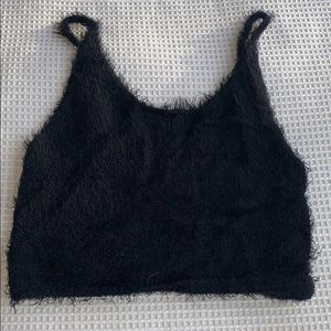 Forever 21 cropped fuzzy knit tank top size S